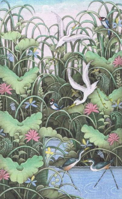 Hérons et grevêches -peinture bali